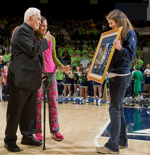 Dec. 8, 2012; President Emeritus Rev. Theodore Hesburgh, C.S.C. is honored at half time of the Women's Basketball game in commemoration of the 40th anniversary of the decision to make Notre Dame co-educational. It was also the anniversary of the the NCAA's Titile IX...Photo by Matt Cashore/University of Notre Dame