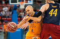 Herbalife Gran Canaria's player Albert Oliver and FC Barcelona Lassa player Ante Tomic during the final of Supercopa of Liga Endesa Madrid. September 24, Spain. 2016. (ALTERPHOTOS/BorjaB.Hojas) NORTEPHOTO.COM