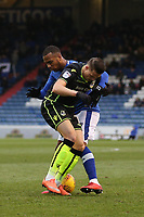 Bristol Rovers' Billy Bodin (left) and Oldham Athletic's Gevaro Nepomuceno (right) in action during the Sky Bet League 1 match between Oldham Athletic and Bristol Rovers at Boundary Park, Oldham, England on 30 December 2017. Photo by Juel Miah / PRiME Media Images.