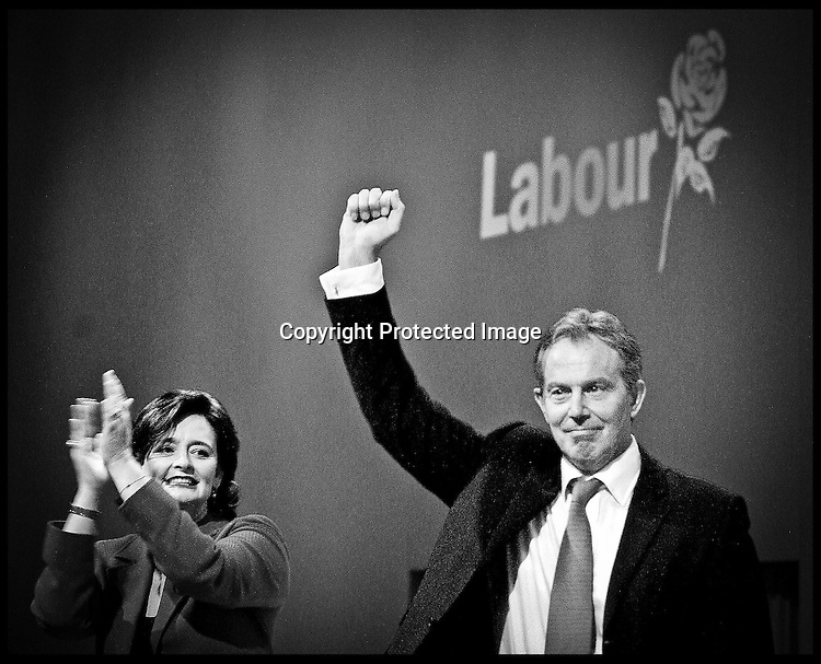 The Prime Minister  Tony Blair and his wife Cherie  after  his speech at the LAbour Party Conference in Brighton.PRESS ASSOCIATION Photo. Photo Credit should read:Andrew Parsons/PA