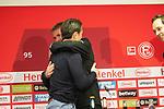 14.04.2019, Merkur Spielarena, Duesseldorf , GER, 1. FBL,  Fortuna Duesseldorf vs. FC Bayern Muenchen,<br />  <br /> DFL regulations prohibit any use of photographs as image sequences and/or quasi-video<br /> <br /> im Bild / picture shows: <br /> #Niko Kovač Trainer / Headcoach (Bayern Muenchen), Friedhelm Funkel Trainer / Headcoach (Fortuna Duesseldorf), umarmen sich nach der Pressekonferenz (PK) nach dem Spiel,  <br /> <br /> Foto © nordphoto / Meuter