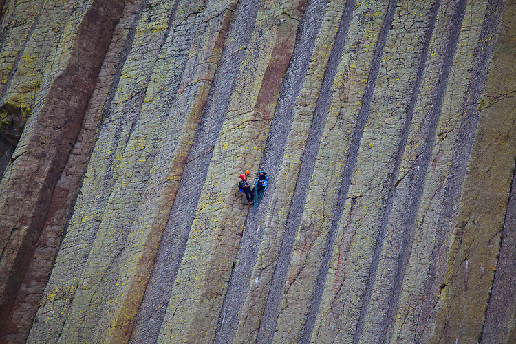 Climbers on Devils Tower in Wyoming on August 15, 2010.