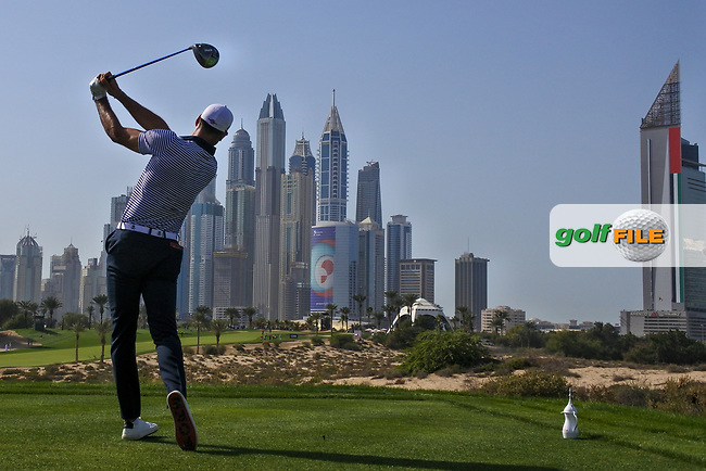 Alvaro Quiros (ESP) on the 8th tee during Round 3 of the Omega Dubai Desert Classic, Emirates Golf Club, Dubai,  United Arab Emirates. 26/01/2019<br /> Picture: Golffile | Thos Caffrey<br /> <br /> <br /> All photo usage must carry mandatory copyright credit (&copy; Golffile | Thos Caffrey)