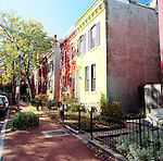 Colorful rowhowses line Caroline Street, part of the greater U Street neighborhood.