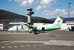 Plane of Wideroe airline at airport, Tromso, Norway