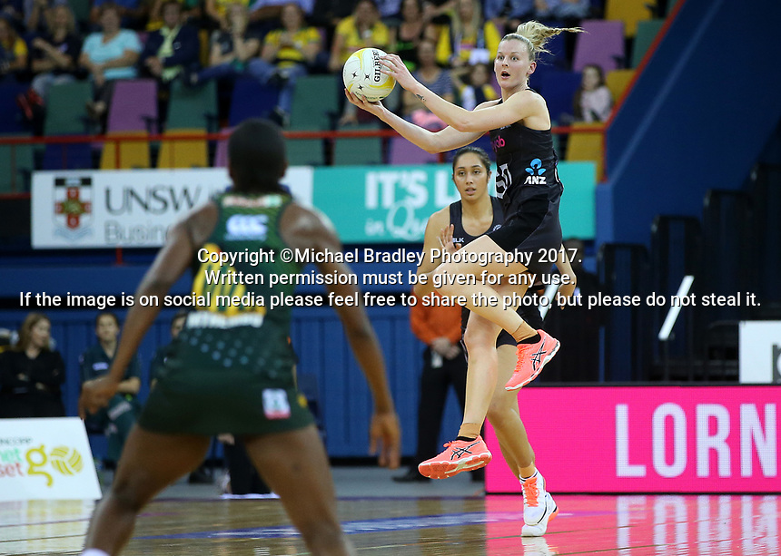 02.08.2017 Silver Ferns Katrina Grant in action during a netball match between the Silver Ferns and South Africa at the Brisbane Entertainment Centre in Brisbane Australia. Mandatory Photo Credit ©Michael Bradley.