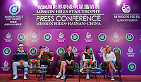 HAIKOU, CHINA - OCTOBER 28:  (L-R) New Zealand golfer Danny Lee, Hollywood actor Matthew McConaughey, Oscar-winning actress Catherine Zeta-Jones, Solheim Cup's captain Rosie Jones of the USA and Spanish golfer Belen Mozo attend a press conference during the Mission Hills Star Trophy on October 28, 2010 in Haikou, China. The Mission Hills Star Trophy is Asia's leading leisure liflestyle event and features Hollywood celebrities and international golf stars. Photo by Victor Fraile / studioEAST