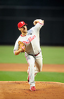 Apr. 25, 2011; Phoenix, AZ, USA; Philadelphia Phillies pitcher Cliff Lee against the Arizona Diamondbacks at Chase Field. Mandatory Credit: Mark J. Rebilas-