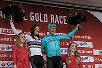 2018 Amstel Gold Race winners Chantal Blaak (NED/Boels Dolmans) and Michael Valgren Andersen (DEN/Astana) on the podium<br /> <br /> 53th Amstel Gold Race (1.UWT)<br /> 1 Day Race: Maastricht > Berg en Terblijt (263km)