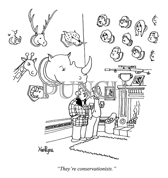 """""""They're conservationists."""" (a man has both the heads of big game animals and humans on his walls as hunting trophies)"""
