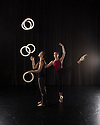 London, UK. 15.09.2014. Gandini Juggling, 4 x 4 Ephemeral Architecture, Creation Studio, NCCA (Circus Space), Hoxton. Directed and devised by Sean Gandini, choreographed by Ludovic Ondiviela. Picture shows: Kati Yla-Hokkala (juggler) and Erin O'Toole (dancer). Photograph © Jane Hobson.
