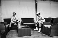 John Degenkolb (DEU/Trek-Segafredo) &amp; Reinardt Janse van Rensburg (ZAF/Dimension Data) before their start<br /> <br /> Stage 20 (ITT): Saint-P&eacute;e-sur-Nivelle &gt;  Espelette (31km)<br /> <br /> 105th Tour de France 2018<br /> &copy;kramon