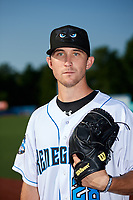 Hudson Valley Renegades pitcher Alan Strong (28) poses for a photo before a game against the Tri-City ValleyCats on August 24, 2018 at Dutchess Stadium in Wappingers Falls, New York.  Hudson Valley defeated Tri-City 4-0.  (Mike Janes/Four Seam Images)