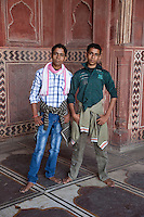 Agra, India.  Taj Mahal Mosque.  Two Indian Teen-age Boys.