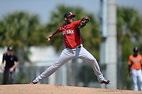 Boston Red Sox pitcher Mario Alcantara (71) during a minor league spring training game against the Baltimore Orioles on March 18, 2015 at Buck O'Neil Complex in Sarasota, Florida.  (Mike Janes/Four Seam Images)