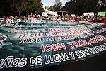 Mexican electric workers hold a banner during a rally to protest against the privatization of the electric energy in Mexico, October 08, 2009. Thousands of workers marched to the presidential residence of Los Pinos.  Photo by Heriberto Rodriguez