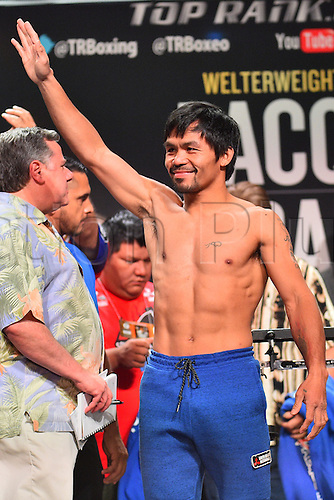 08.04.2016. Las Vegas, Nevada, USA.  Manny Pacquiao (Sarangani Province, Philippines) acknowledges the crowd during the official pre-fight weigh in at the MGM Grand Garden Arena at the MGM Grand Hotel and Casino in Las Vegas, Nevada. Manny Pacquiao (Sarangani Province, Philippines) and Timothy Bradley (Palm Springs, Calif., USA) will face off for the WBO Welterweight International Title on Saturday, April 9, 2016 at the MGM Grand Garden Arena in Las Vegas, Nevada, USA.