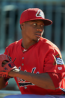 Peoria Chiefs pitcher Luis Perdomo (36) throws a bullpen before a game against the Lansing Lugnuts on June 6, 2015 at Cooley Law School Stadium in Lansing, Michigan.  Lansing defeated Peoria 6-2.  (Mike Janes/Four Seam Images)