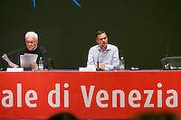 55th Art Biennale in Venice - The Encyclopedic Palace (Il Palazzo Enciclopedico).<br /> Opening Press Conference.<br /> Biennale President Paolo Baratta (l.), Biennale 55 Curator Massimiliano Gioni.