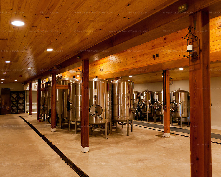Stainless tanks line the cavernous work room at Gray Ghost Vineyards.  The front part of this room is frequently used for wine and seasonal events.
