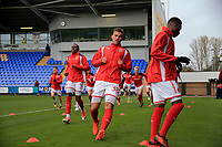 Baily Cargill of Fleetwood Town warming up prior to the Sky Bet League 1 match between Shrewsbury Town and Fleetwood Town at Greenhous Meadow, Shrewsbury, England on 21 October 2017. Photo by Leila Coker / PRiME Media Images.
