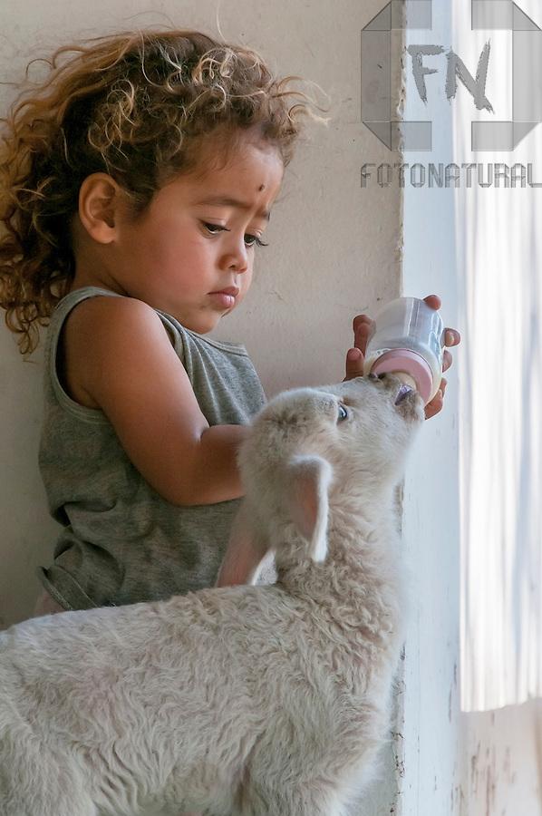Menininha dando mamadeira para cabrita | Little girl giving baby bottle to goatling<br /> <br /> LOCAL: Miranda, Mato Grosso do Sul, Brasil<br /> DATE: 08/2010<br /> &copy;Pal&ecirc; Zuppani