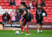 Lincoln City's Harry Anderson during the pre-match warm-up<br /> <br /> Photographer Chris Vaughan/CameraSport<br /> <br /> The Carabao Cup Second Round - Lincoln City v Everton - Wednesday 28th August 2019 - Sincil Bank - Lincoln<br />  <br /> World Copyright © 2019 CameraSport. All rights reserved. 43 Linden Ave. Countesthorpe. Leicester. England. LE8 5PG - Tel: +44 (0) 116 277 4147 - admin@camerasport.com - www.camerasport.com