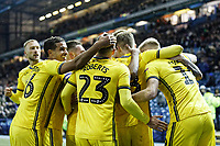 Ben Wilmot of Swansea City is mobbed by team mates celebrating his goal during the Sky Bet Championship match between Sheffield Wednesday and Swansea City at Hillsborough Stadium, Sheffield, England, UK. Saturday 09 November 2019