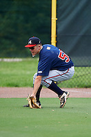 GCL Braves left fielder Jackson Pokorney (56) fields a hit during a game against the GCL Phillies on August 3, 2016 at the Carpenter Complex in Clearwater, Florida.  GCL Phillies defeated GCL Braves 4-3 in a rain shortened six inning game.  (Mike Janes/Four Seam Images)