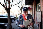 Newt Wallace, 93, delivers Winters Express newspapers February 6, 2013 in Winters, California. Wallace is believed to be the world's oldest paper delivery boy.