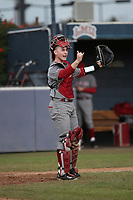 Cory Meyer (8) of the Washington State Cougars gives the infield signals during a game against the Loyola Marymount Lions at Page Stadium on February 26, 2017 in Los Angeles, California. Loyola defeated Washington State, 7-4. (Larry Goren/Four Seam Images)