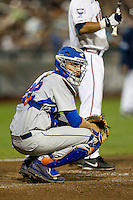 Florida Gators catcher JJ Schwarz (22) during the NCAA College baseball World Series against the Virginia Cavaliers on June 15, 2015 at TD Ameritrade Park in Omaha, Nebraska. Virginia defeated Florida 1-0. (Andrew Woolley/Four Seam Images)