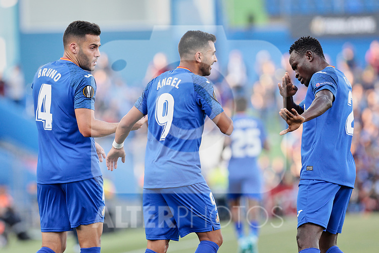 (L-R) Bruno Gonzalez, Angel Rodriguez and Djene Dakoman of Getafe CF celebrate goal during UEFA Europa League match between Getafe CF and Trabzonspor at Coliseum Alfonso Perez in Getafe, Spain. September 19, 2019. (ALTERPHOTOS/A. Perez Meca)