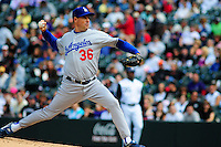 14 September 08: Los Angeles Dodgers pitcher Greg Maddux pitches against the Colorado Rockies. The Colorado Rockies defeated the Dodgers 1-0 in 10 innings at Coors Field in Denver, Colorado. FOR EDITORIAL USE ONLY