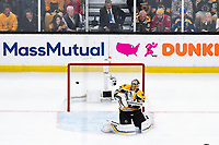 June 6, 2019: The puck flies wide to the right of Boston Bruins goaltender Tuukka Rask (40) during game 5 of the NHL Stanley Cup Finals between the St Louis Blues and the Boston Bruins held at TD Garden, in Boston, Mass. The Blues defeat the Bruins 2-1 in regulation time. Eric Canha/CSM