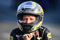 Oct. 5, 2012; Mohnton, PA, USA: NHRA pro stock motorcycle rider Karen Stoffer during qualifying for the Auto Plus Nationals at Maple Grove Raceway. Mandatory Credit: Mark J. Rebilas-