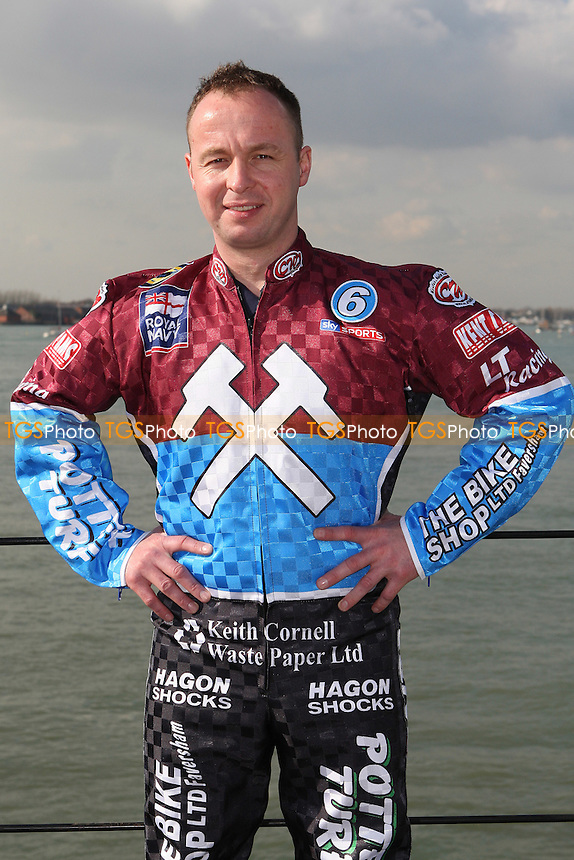 Paul Hurry of Lakeside Hammers - Lakeside Hammers Speedway team announce sponsorship by the Royal Navy for the 2010 season aboard HMS Kent in Portsmouth Dockyard - 02/03/10 - MANDATORY CREDIT: Gavin Ellis/TGSPHOTO - Self billing applies where appropriate - Tel: 0845 094 6026