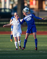 In a National Women's Soccer League Elite (NWSL) match, the Boston Breakers and  Washington Spirit drew 1-1, at the Dilboy Stadium on April 14, 2012.  Boston Breakers midfielder Joanna Lohman (11) heads the ball away from Washington Spirit midfielder Diane Matheson (8).