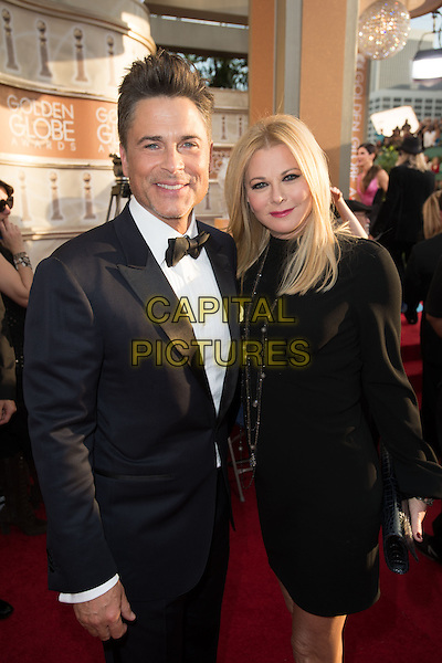 Nominated for BEST PERFORMANCE BY AN ACTOR IN A SUPPORTING ROLE IN A SERIES, MINI-SERIES OR MOTION PICTURE MADE FOR TELEVISION for his role in &ldquo;BEHIND THE CANDELABRA&rdquo;, actor Rob Lowe and Sheryl Berkoff attend the 71st Annual Golden Globes Awards at the Beverly Hilton in Beverly Hills, CA on Sunday, January 12, 2014.<br /> CAP/HFPA<br /> &copy;HFPA/ Capital Pictures