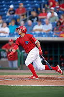 Clearwater Threshers third baseman Jan Hernandez (3) follows through on a swing during a game against the Palm Beach Cardinals on April 14, 2017 at Spectrum Field in Clearwater, Florida.  Clearwater defeated Palm Beach 6-2.  (Mike Janes/Four Seam Images)