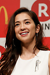 Japanese model Anne Nakamura poses for cameras during a news conference organized by McDonald's Japan and Rakuten, Inc. on May 26, 2017, Tokyo, Japan. Rakuten and McDonald's have cemented their business relationship by launching an original point card which can be used at all of the 2,900 McDonald's stores in Japan. (Photo by Rodrigo Reyes Marin/AFLO)