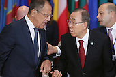 United Nations Secretary-General Ban Ki-moon (R) and Russian Foreign Minister Sergey Lavrov talk during a luncheon at the 70th annual UN General Assembly at the UN headquarters September 28, 2015 in New York City. U.S. President Barack Obama will sit down for a bilateral meeting with Russian President Vladimir Putin later in the day.  <br /> Credit: Chip Somodevilla / Pool via CNP