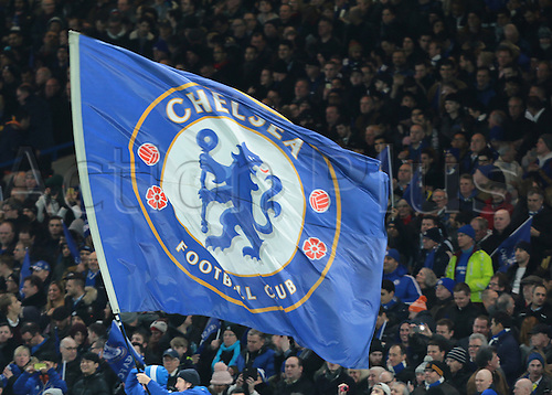 09.03.2016. Stamford Bridge, London, England. Champions League. Chelsea versus Paris Saint Germain. A Chelsea flag flies before kick off