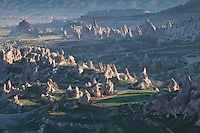 "Nothing beats the views of the Cappadocia valley like hovering in a hot air balloon over the many ""fairy chimney"" rock formations."