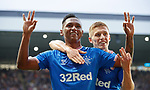 18.07.2019: Rangers v St Joseph's: Alfredo Morelos celebrates his third goal with Greg Docherty