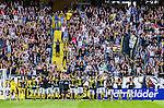Solna 2014-07-12 Fotboll Allsvenskan AIK - Kalmar FF :  <br /> AIK:s spelare jublar med AIK:s supportrar efter matchen och segern mot Kalmar<br /> (Foto: Kenta J&ouml;nsson) Nyckelord:  AIK Gnaget Friends Arena Kalmar KFF jubel gl&auml;dje lycka glad happy supporter fans publik supporters
