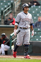 Lehigh Valley Ironpigs catcher Dane Sardinha #22 at bat during the second game of a double header against the Rochester Red Wings at Frontier Field on April 14, 2011 in Rochester, New York.  Lehigh Valley defeated Rochester 5-3 in extra innings.  Photo By Mike Janes/Four Seam Images