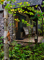 The West Dorm Entrance is surrounded by early autumn foliage, The Clearing, Door County, Wisconsin