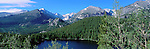 panorama, summer, Longs Peak, Bearl Lake, evergreen trees, Rocky Mountain National Park, Colorado