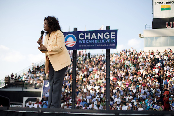 December 9, 2007. Columbia, SC.. Democratic presidential hopeful and US Senator, Barack Obama held a rally at the University of South Carolina's football stadium, drawing a crowd of an estimated 29,000 people, with special guest Oprah Winfrey.. Oprah took the stage to great applause.  .